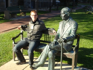 Next to the monument of Jan Karski, the Polish courier who tried to alert the allies about the destruction of Europe's Jews. Georgetown, Washington, DC, 2011